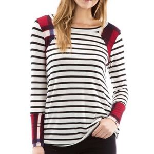 🆕 Striped Long Sleeve Tee with Plaid Contrast